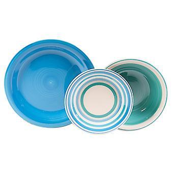 Piatti Kyklos Colore Bianco, Blu in Stoneware, Ogni Piatto Fondo L21xP21 cm, Ogni Piatto Piano L27xP27 cm, Ogni Piatto Frutta L19xP19 cm