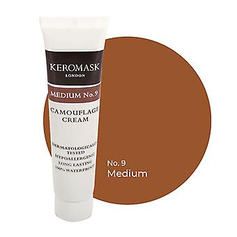Keromask Full Cover Concealer | 24 Shades | Covers Vitiligo, Rosacea, Scars, Tattoos | Waterproof Camouflage Makeup | Medium No 9 | 15ml