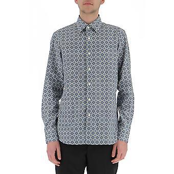 Prada Ucm6081p92f0012 Männer's blaue Baumwolle Shirt