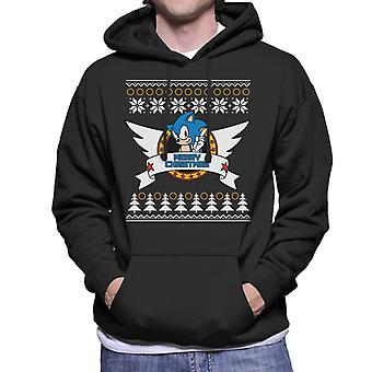 Sonic The Hedgehog Hyvää joulua Fair Isle Miehet & s Hupullinen Collegepaita