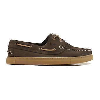 Barker Henri Brown Nubuck Chaussures de pont pour hommes en cuir