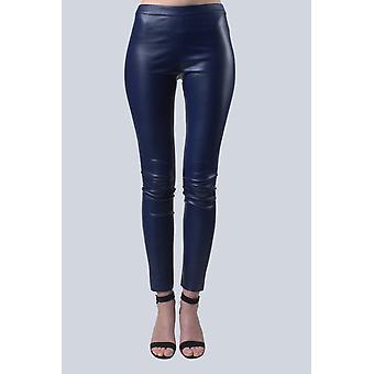 Blue Navy Leather Leggings Sam-rone Women