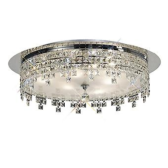 Flush Plafond ronde 4 licht gepolijst chroom, glas, kristal