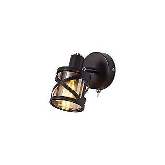 Luminosa Beleuchtung - 1 Licht Strahler E14, geölte Bronze, poliert Chrom, Bernstein