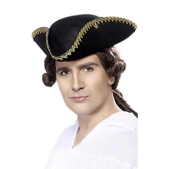 Tricorn Pirate Hat Black And Gold Detail Braiding Fancy Dress Costume Accessory