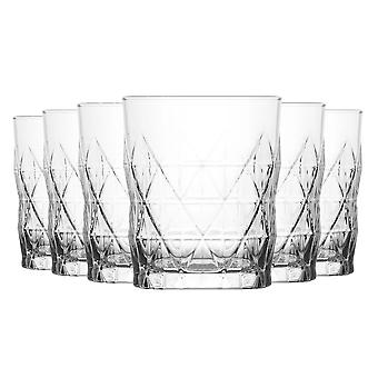 LAV Keops Whisky Tumbler Glasses - 345ml - Pack of 6 Rocks Glasses / Whiskey Glasses