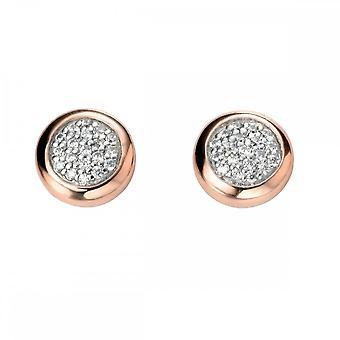 Elemente Silber Pflaster mit Rose Gold Surround Ohrringe E5137C