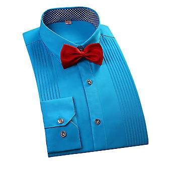 YANGFAN Mens Casual Formal Business Solid Color Long Sleeve Shirts