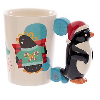 セラミックペンギンクリスマス形のハンドルマグ