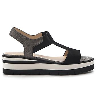 Black and Grey Sandal with Low Wedge