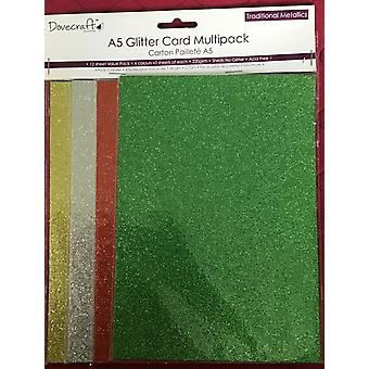 Simply Creative - A5 Glitter Card Multipack Gold, Silver, Red, Green 3 Sheets Of 4 Colours