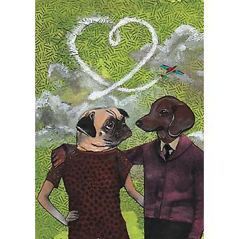 Pug And Dachshund Love Dogs Card