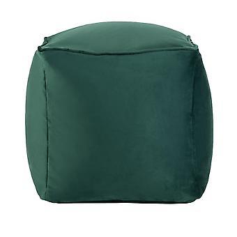 Forest Green Cube Bean Bag Foot Rest Stool Pouffe Living Room Beanbag Ottoman Footstools