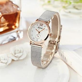 Stainless Steel Rhinestone Couple Luxury Quartz Wristwatch