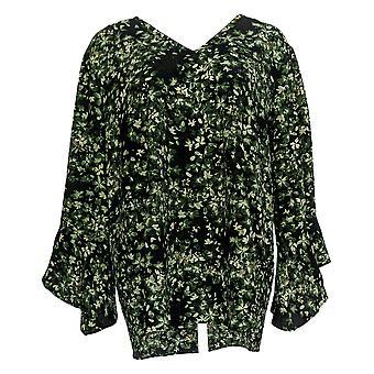 Belle Af Kim Grus Kvinder's Top Floral Flutter Sleeve Bluse Grøn A310203