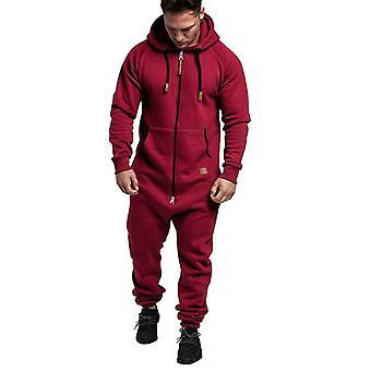 Men Pure Color Splicing Jumpsuit, Toamna, Iarna, Casual Hoodie Print Fermoar