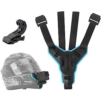 TELESIN Motorcycle Helmet Strap Harness Full Face Front Chin Mount + J Hook
