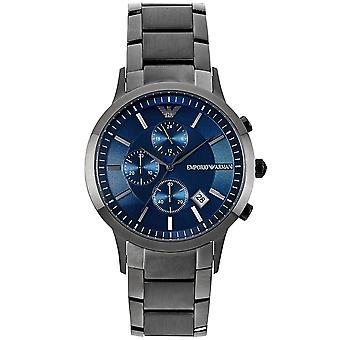 Armani Ar11215 Grey & Blue Stainless Steel Chronograph Mens Watch