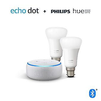 Echo dot (3rd gen), sandstone fabric + philips hue white smart bulb twin pack led (b22) | bluetooth