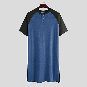 Männer Short Sleeve O Neck Patchwork Sleepwear Komfortable Sleep Tops