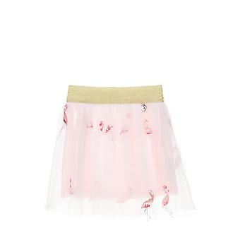 Alouette Girls' Skirt With Tull And Embroidery In Flamingo Design