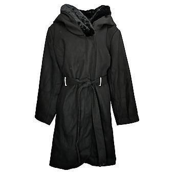 Belle By Kim Gravel Women's Coat Plus Faux Fur Trim Belted Black A388526