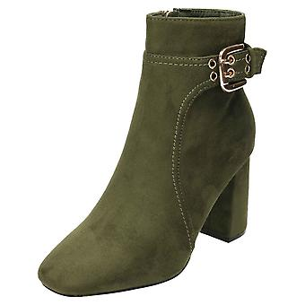 Koi Footwear Ankle Boots Faux Suede Block High Heel Green