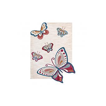 Children's rug TOYS 75326 Butterflies for children - modern, irregular shape navy cream / red fuchsia