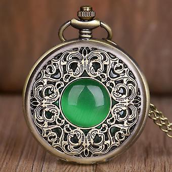 New Vintage Crystal Emerald Imitation Stone Design Quartz Pocket Watches