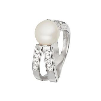 Anillo de plata, óxidos de circonio y perlas cultivadas en blanco -