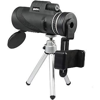 المدمجة HD 40x60 Monocular مع حامل الهاتف، ماء FMC BAK4 منظور عدسة، لمشاهدة الطيور، والمشي لمسافات طويلة، والمشي لمسافات طويلة والألعاب الرياضية. (أسود)