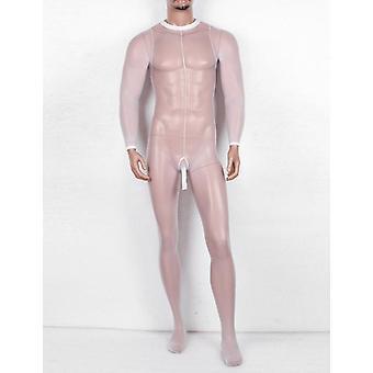 Men Sissy Sheer Mesh Penis Sheath Body Stockings Transparent Lingerie