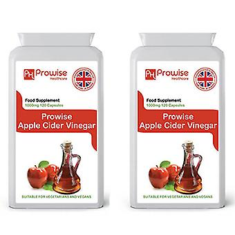 Pack of 2 - Premium Apple Cider Vinegar 1000mg – 120 Capsules | Suitable For Vegetarians & Vegans | Made In UK by Prowise