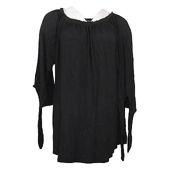 Antthony Women's Top On/Off Shoulder Tie-Sleeve Tunic Black 767565