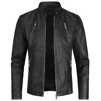 Swotgdoby Men's Stand Collar Casual Leather Jacket, Slim Fit Lightweight Motorcycle Jacket
