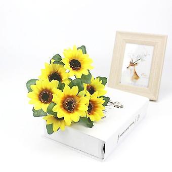 Sunflower Artificial Flower Bouquet, Home Garden Party Wedding Decor