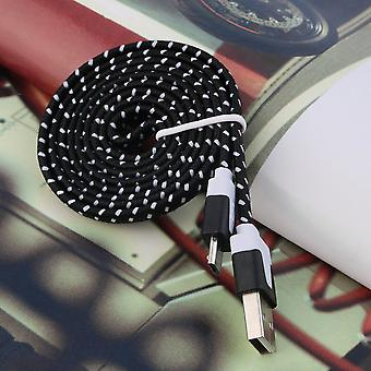 1m Nylon Flat Braided Micro Usb Charging Data Cable For Smartphone Mobile