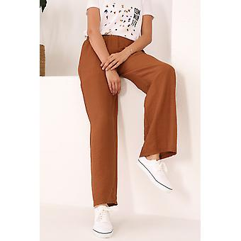 Comfortabele elastische taille zakken brede been broek