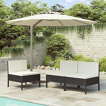 vidaXL puutarhatuolit 3 kpl tyynyillä Poly Rattan Black
