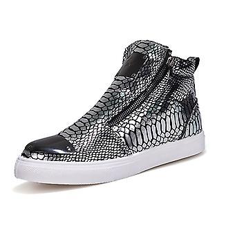 Zapatos casuales high-top high-top de moda para hombre 1Gb198 Plata