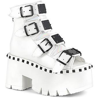 Demonia Women's Zapatos ASHES-70 Wht Cuero Vegano