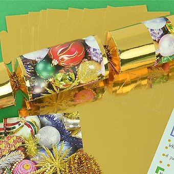 8 Gold Foil Traditional Christmas Make Your Own DIY Christmas Cracker Craft Kit