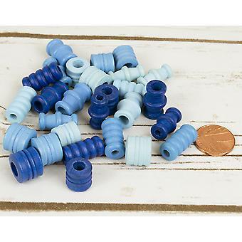 Assorteret blå tønden formet træ Threading perler voksne håndværk - 28pk