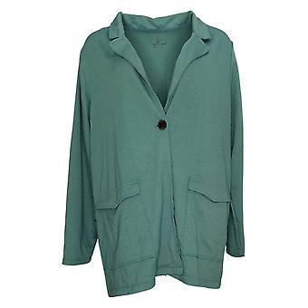 Cuddl Duds Women's Lightweight Comfort Blazer Patch Pockets Green A391574