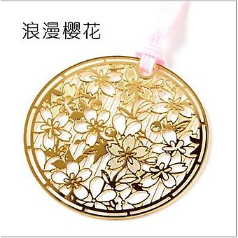 Sakura Metal Hollow Bookmark Creative Chinese Style Cherry Blossoms Bookmarks Book Folder Office