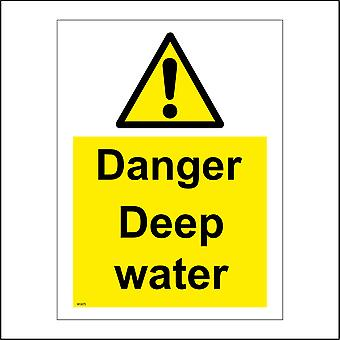 WS875 Danger Deep Water Sign with Triangle Exclamation Mark