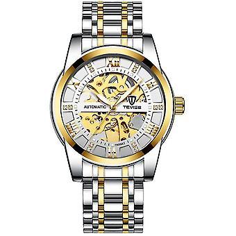 Mænds mode ur mode automatisk mekanisk ur (Inter Gold White)