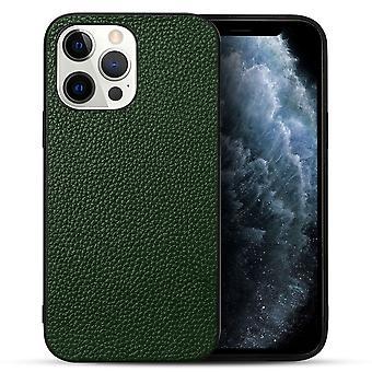 Para iPhone 13 Pro Funda Cuero Genuino Durable Slim Fit Cubierta Protectora Verde