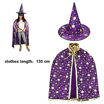 Halloween Costume Wizard Cape Witch Cloak Role Play Party, 130cm