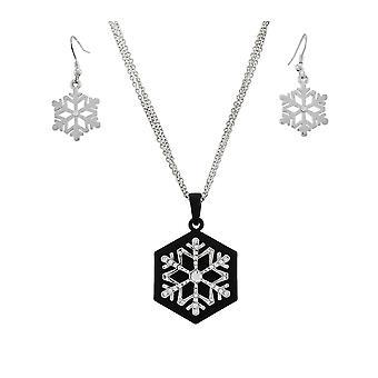 Prachtige Strass sneeuwvlok hanger & oorbellen Set